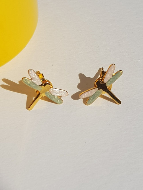 Pale Green & Pearl Dragonfly Studs