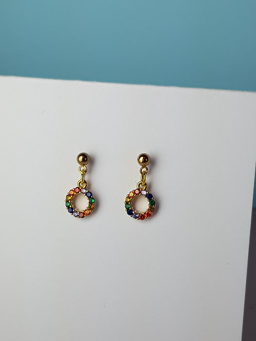 Rainbow Circle Stud Drop Earrings