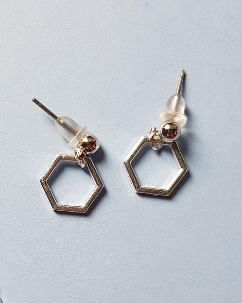 Simple Hexagon Silver Earrings