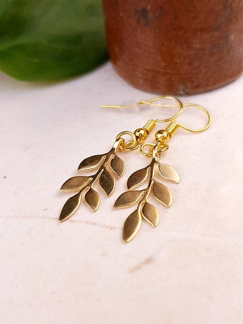 Gold Laurel Leaf Drop Earrings