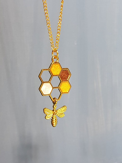 Gold Honeycomb and Bee Necklace