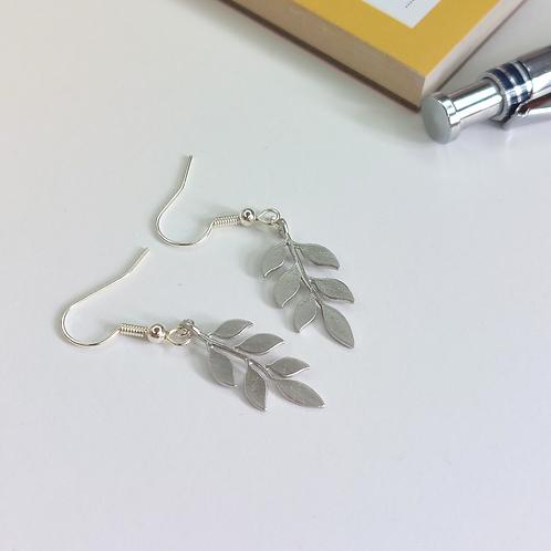Silver Laurel Leaf Drop Earrings