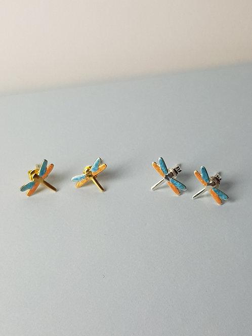 Bright Blue & Orange Dragonfly Studs