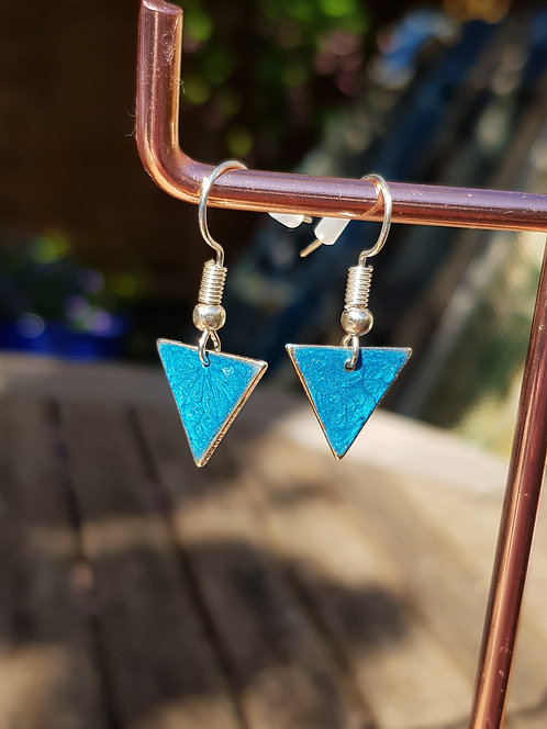 Bright Blue Triangle Drop Earrings - gold or silver