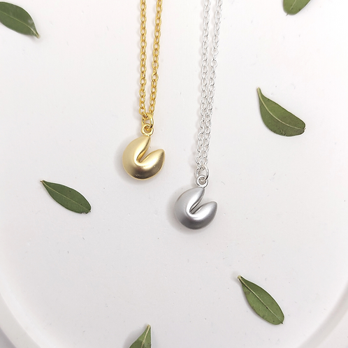 Fortune Cookie Necklaces - gold or silver
