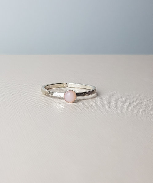 Pink Opal Silver Stacking Ring