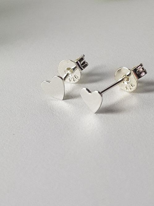 Silver Tiny Heart Studs