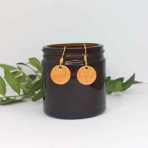 Orange Round Earrings