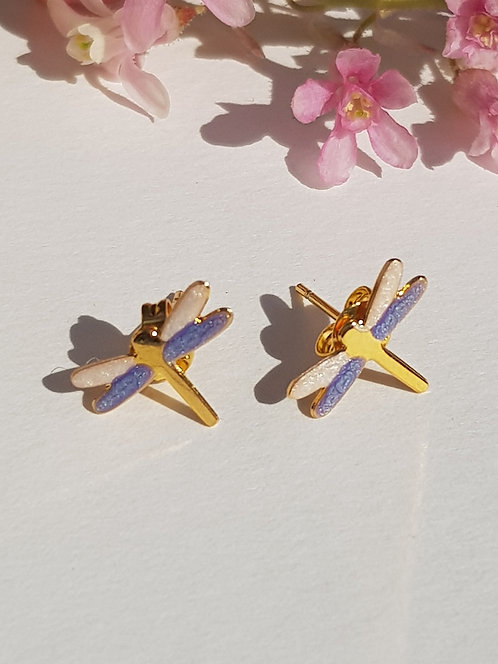 Pale Blue and Pearl Dragonfly Studs