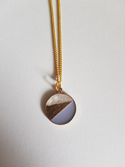 Blue and Pearl Circle Necklace