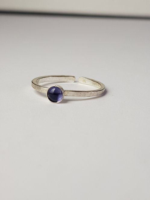 Purple Iolite Silver Stacking Ring