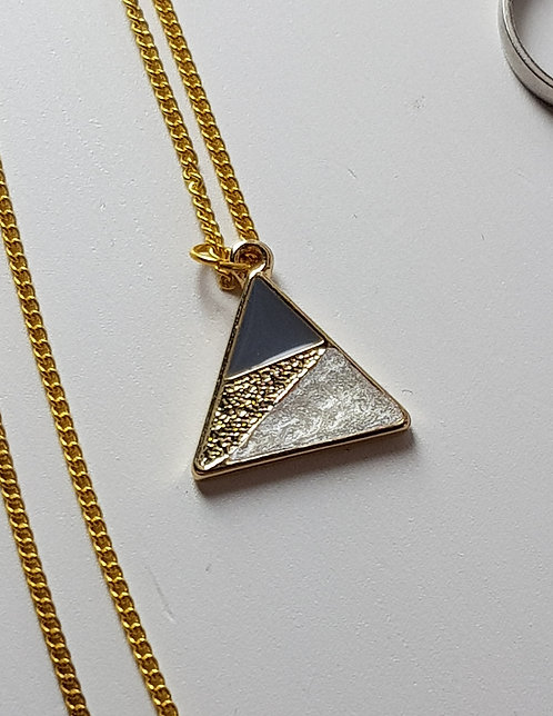 Blue and Pearl Triangle Necklace