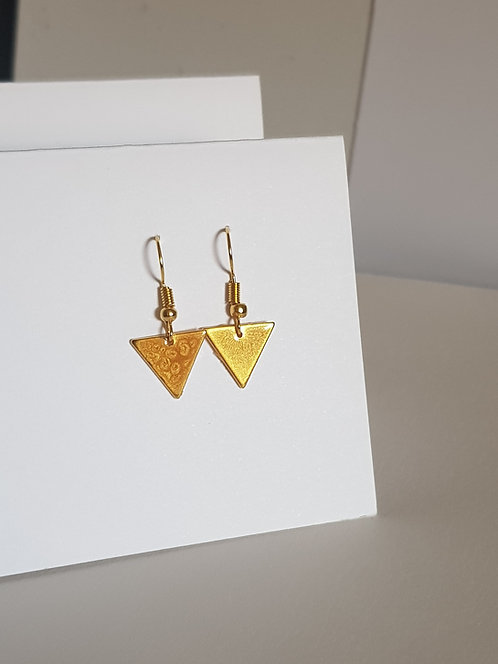 Yellow Triangle Drop Earrings - silver or gold