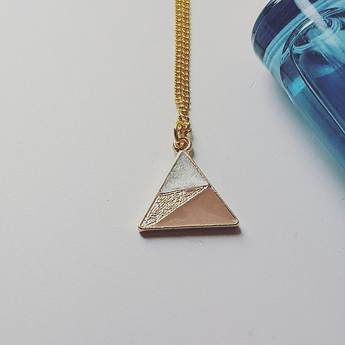 Pink and Pearl Triangle Necklace