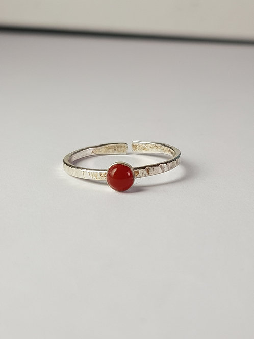 Red Onyx Silver Stacking Ring