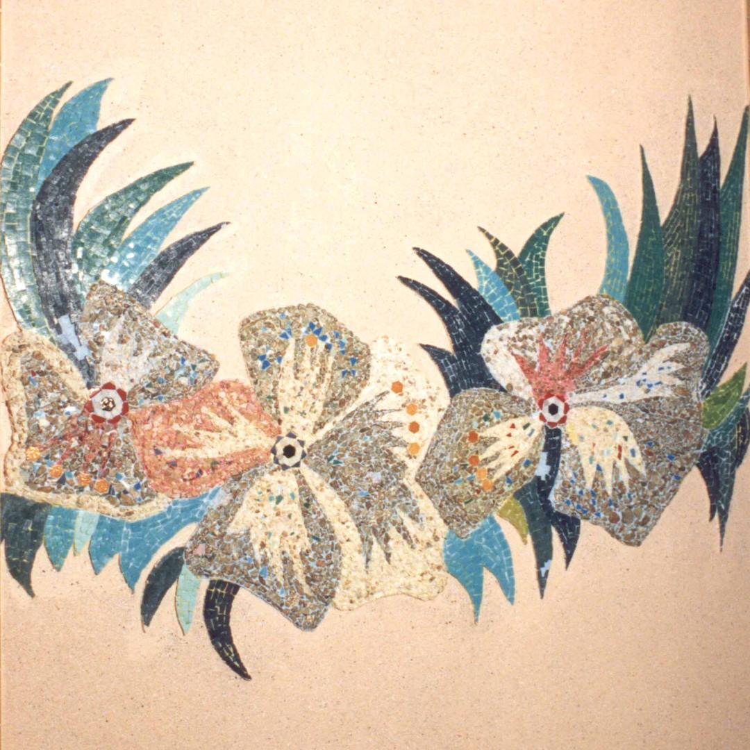"""Mosaïque murale pour hall, """"Farandole de fleurs"""""""