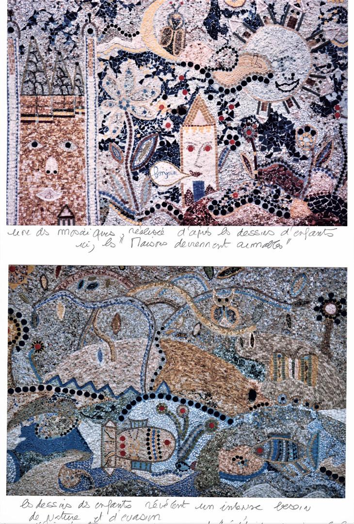 """Mosaïques murales, """"Maison qui dit bonjour"""",Place de l'hippodrome"""