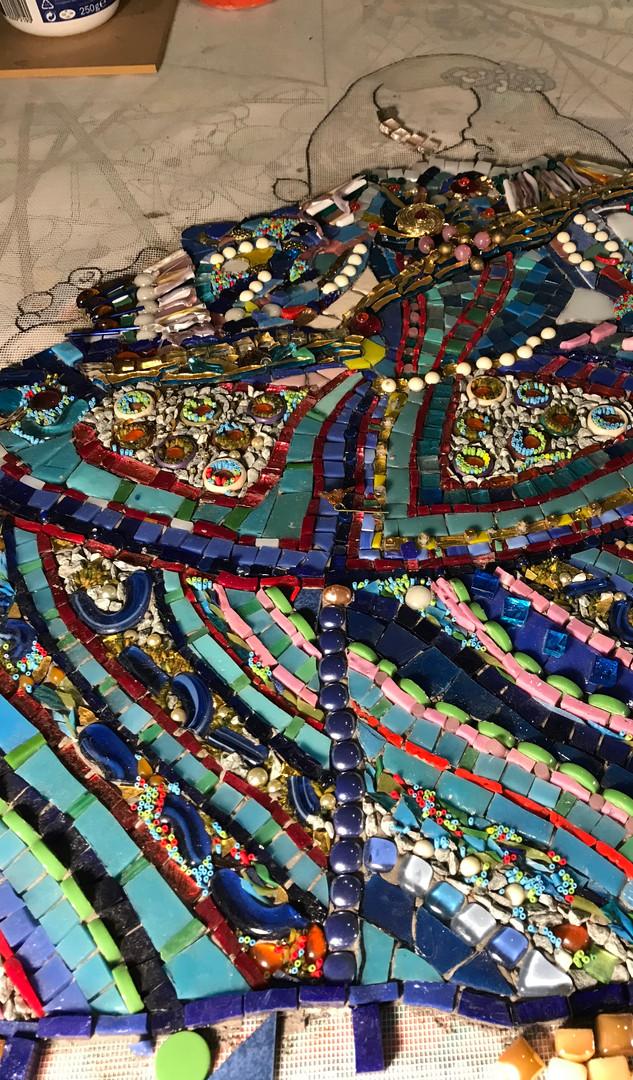 Sœur de l'Infante, Mosaïque en cours, 0,74 x 1,25 m, Collection de l'artiste