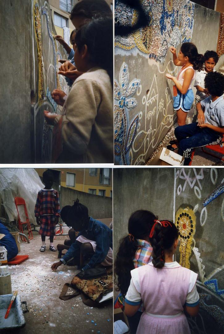 Réalisation des mosaïques avec participation des enfants