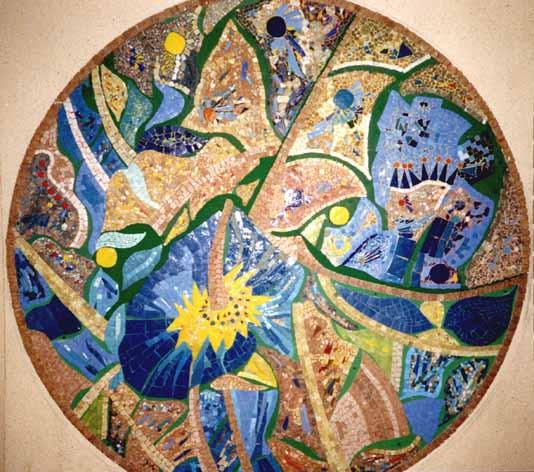"""Mosaïque murale pour hall, """"Rosace martiniquaise"""""""