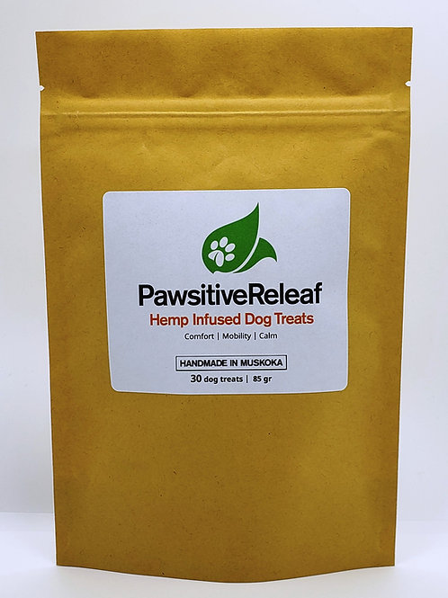 Bag of Dog Treats brown with white label