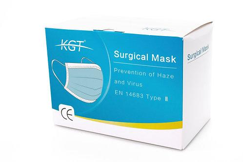 KGT Chirurgen Maske, EN 14683 Typ II, Box à 10x10 steril verpackten OP Masken