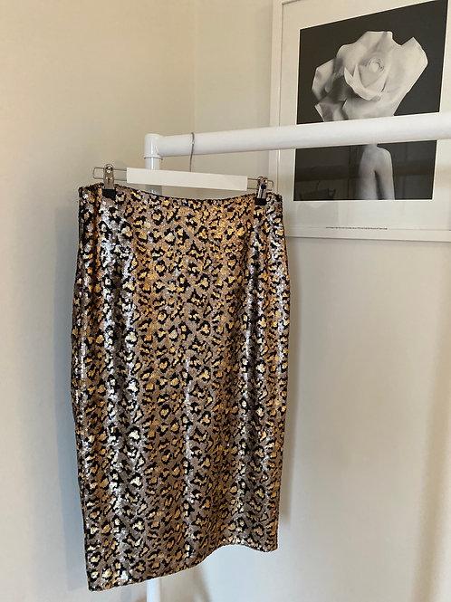 Karen Millen Leopard Sequin Skirt