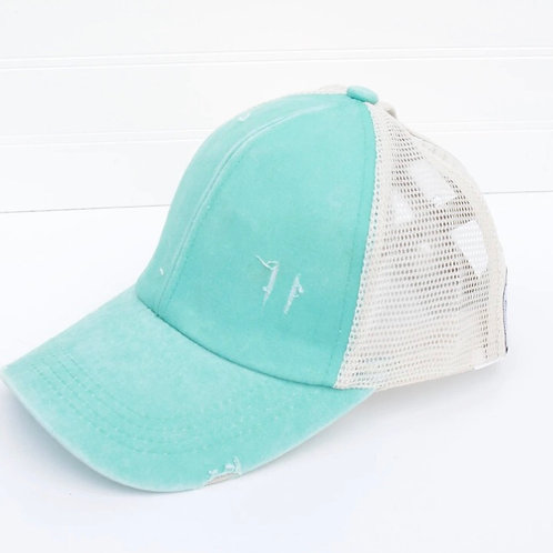 Solid Color Distesses Cross Back Cap (options available)