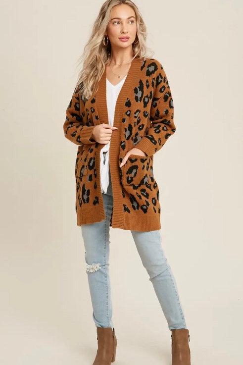 Open Front Leopard Cardigan