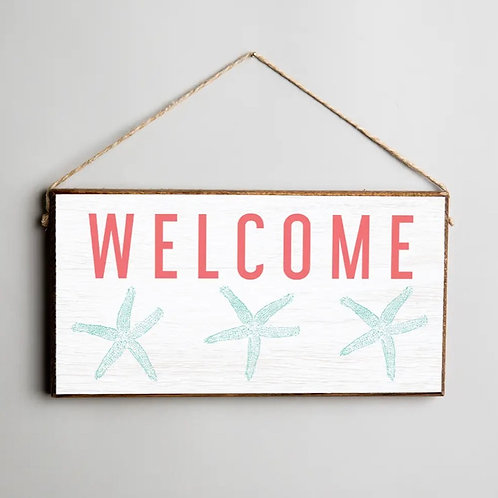Welcome 3 Starfish Twine Hanging Sign