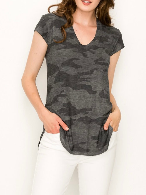 Short Sleeve VNeck Camo Top