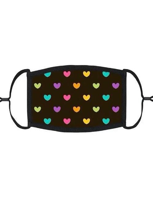 Kids adjustable Face Mask - Rainbow Hearts