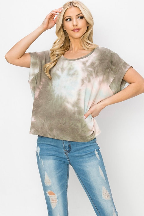 Tie Dye Cuffed Sleeve Top (color options available)