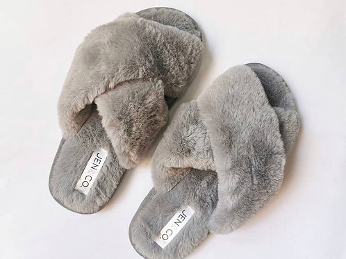 Fuzzy Criss Cross Slipper Slides (options available)