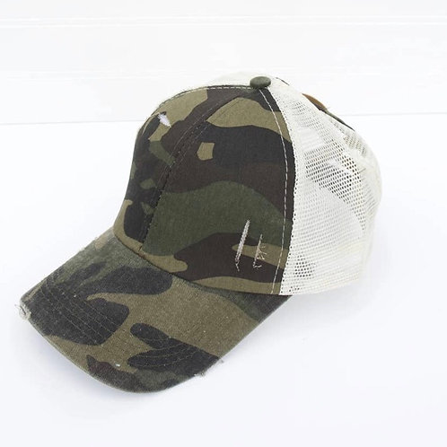 Distressed Camo Cross Back Cap