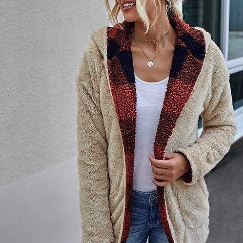 Reversible Open Front Sherpa Sweater Jacket