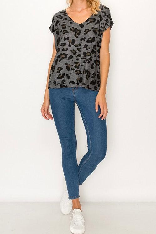 Short Sleeve VNeck Leopard Top