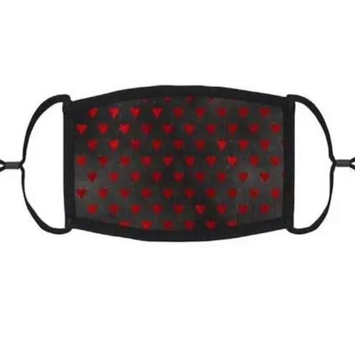 Adjustable Face Mask - Red hearts