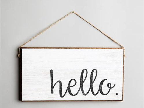 Hello Twine Hanging Sign