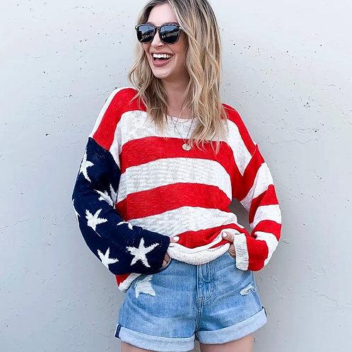 American Flag Sweater Top