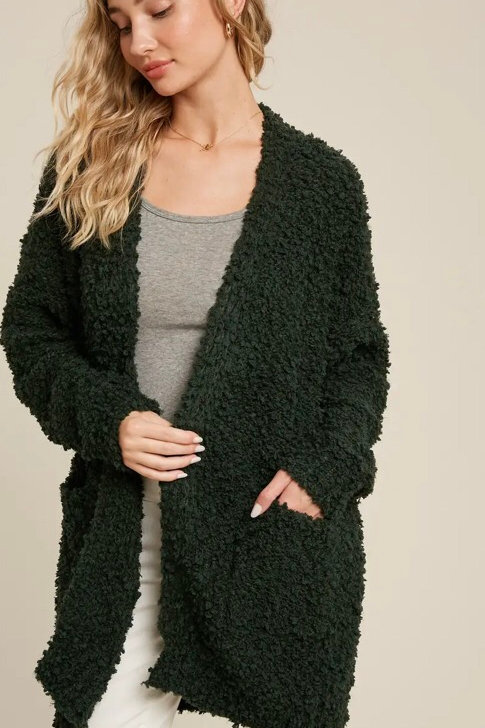 Fluffy Open Front Cardigan (color options available)