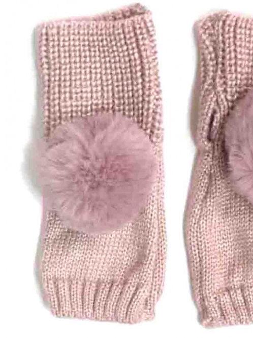 Faux Fur Pom Wrist Warmers