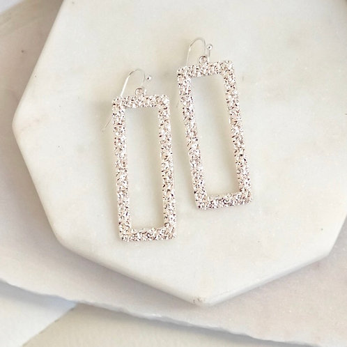 Textured Rectangle Drop Earrings (options available)