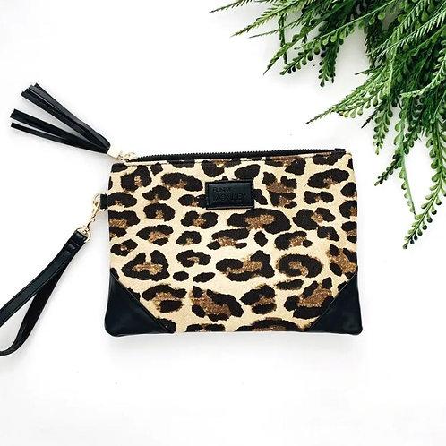 Leopard Print Corner Detail Wristlet
