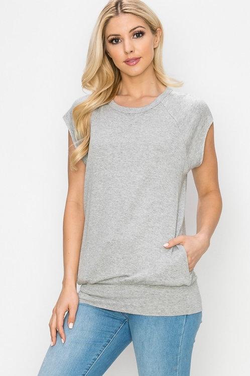 Cap Sleeve Top w/Pockets