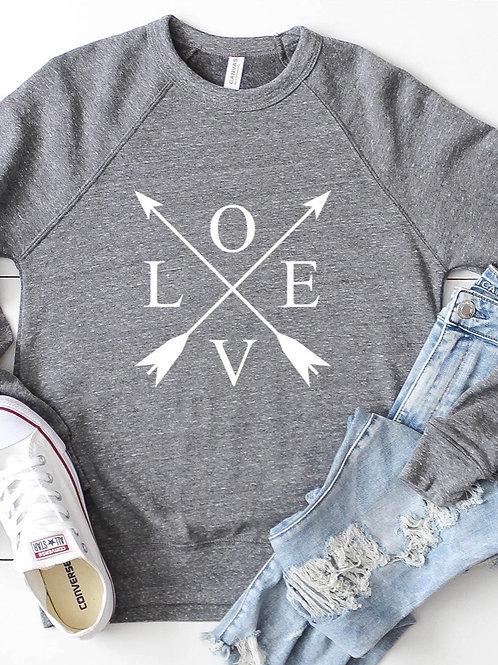 Triblend Crewneck Sweatshirt- Love Arrows