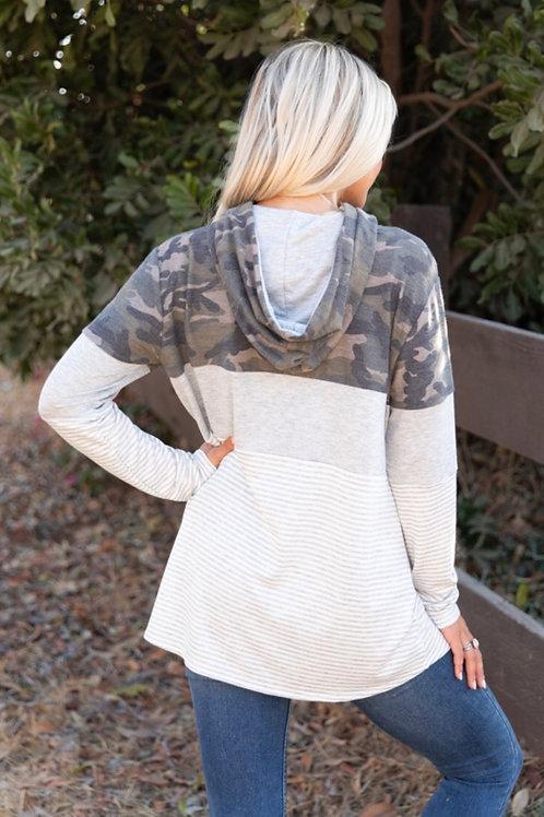 Camo & Stripe Hooded Top