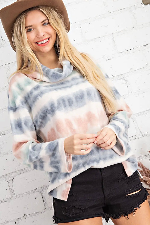 Tie Dye Brushed Cowl Neck Top