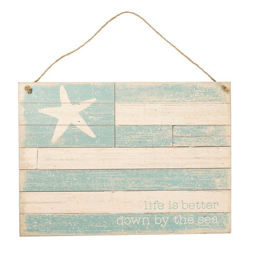 Rustic Hanging Sign - By The Sea