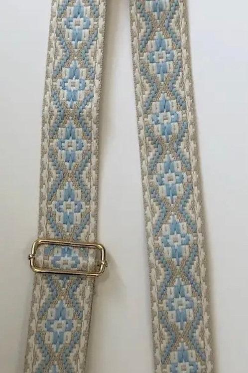 Embroidered Medallion bag Strap Beige/Lt Blue